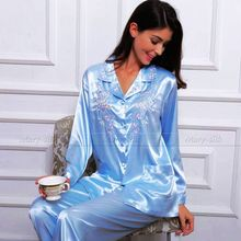 Womens Silk Satin Pajamas Set Pyjamas PJS Set Sleepwear Set Nightwear Loungewear XS~ 3XL Plus Size__Gifts(China)