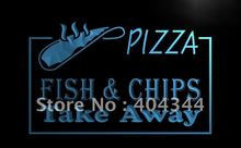 LB138- OPEN Pizza Fish Chips Displays   LED Neon Light Sign     home decor shop crafts