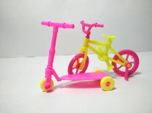 2pcs Kids scooter Bicycles Bikes Mini Toy for Barbie Accessories Girls Birthday Gifts Doll Accessories Fits for 10cm Dolls