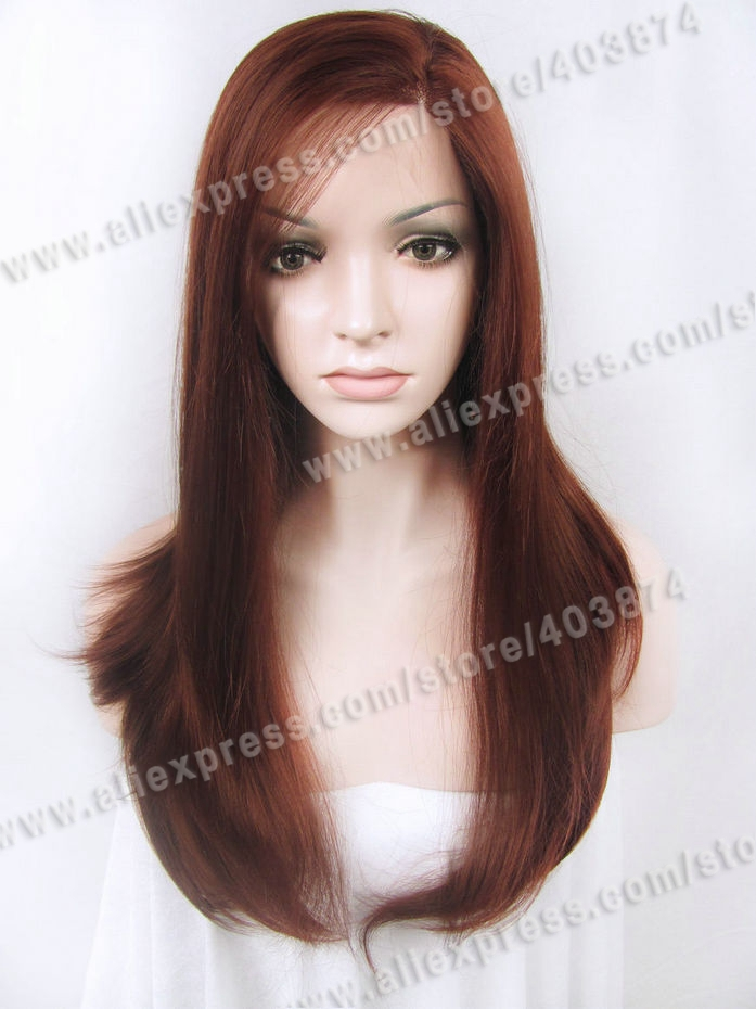 N2-35 24inch Long Silky Straight Texture Bright Auburn Color Synthetic Lace Front Wig for Daily Life Wearing<br><br>Aliexpress