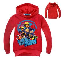 New Arrival Boy Sweatshirts fireman hoodies for boys red truck sweats kids clothing fire fighter blue SAM clothes
