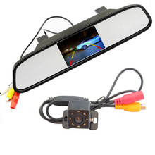 Auto Parking Assistance System 2 in 1 4.3 Digital TFT LCD Mirror Car Parking  Monitor + 170 Degrees Mini Car Rear view Camera