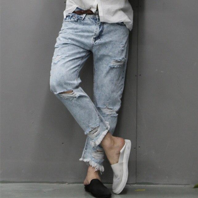 brand man jeans fashion 2017 new spring light blue jeans trousers wash old mens jeans ripped distressed skinny jeans men K651Îäåæäà è àêñåññóàðû<br><br>