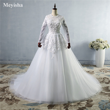ZJ9038 Flower White Ivory gown Wedding Dresses flower with long sleeve Bridal Dress plus size 2 4 6 8 10 12 14 16 18 20 22 24(China)