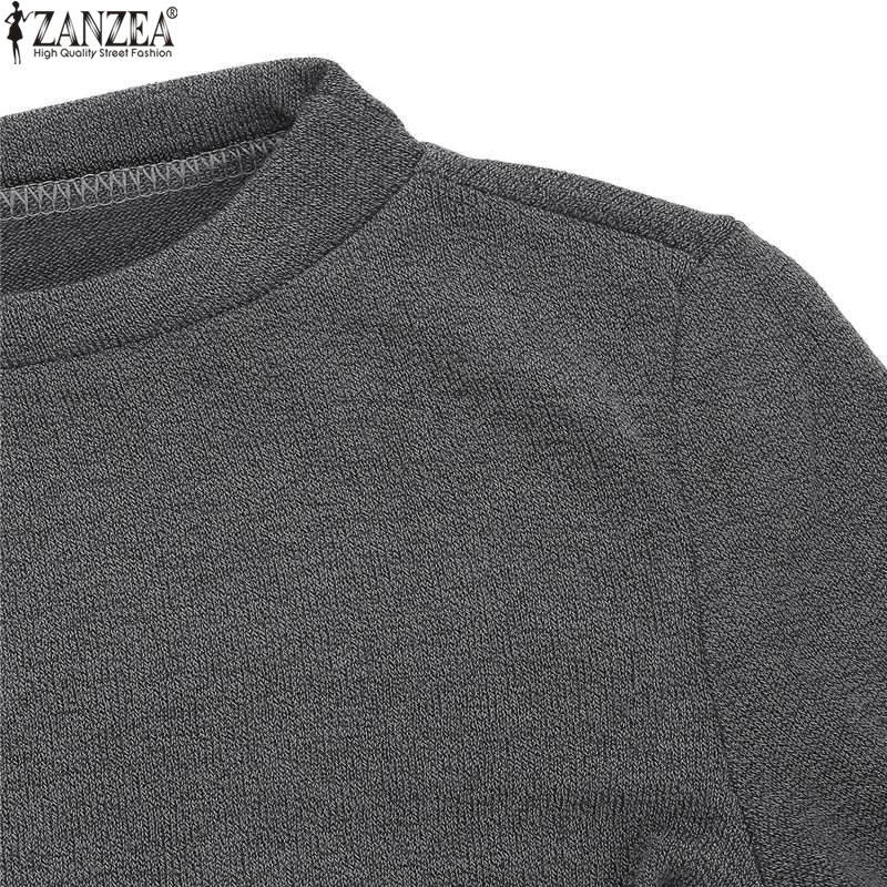 ZANZEA Winter Sweater Dress Vestidos 18 Women Ladies Knitted Casual Long Sleeve Asymmetric Hem Mid-calf Dresses Plus Size 3XL 17