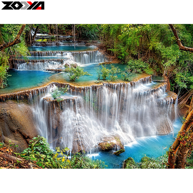 Алмазная вышивка природа водопады 41