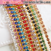 Lowest Price SS6 Clear Crystal strass termoadhesivos All Colors Rhinestones in craft Sewing On Chain For Caking decorations