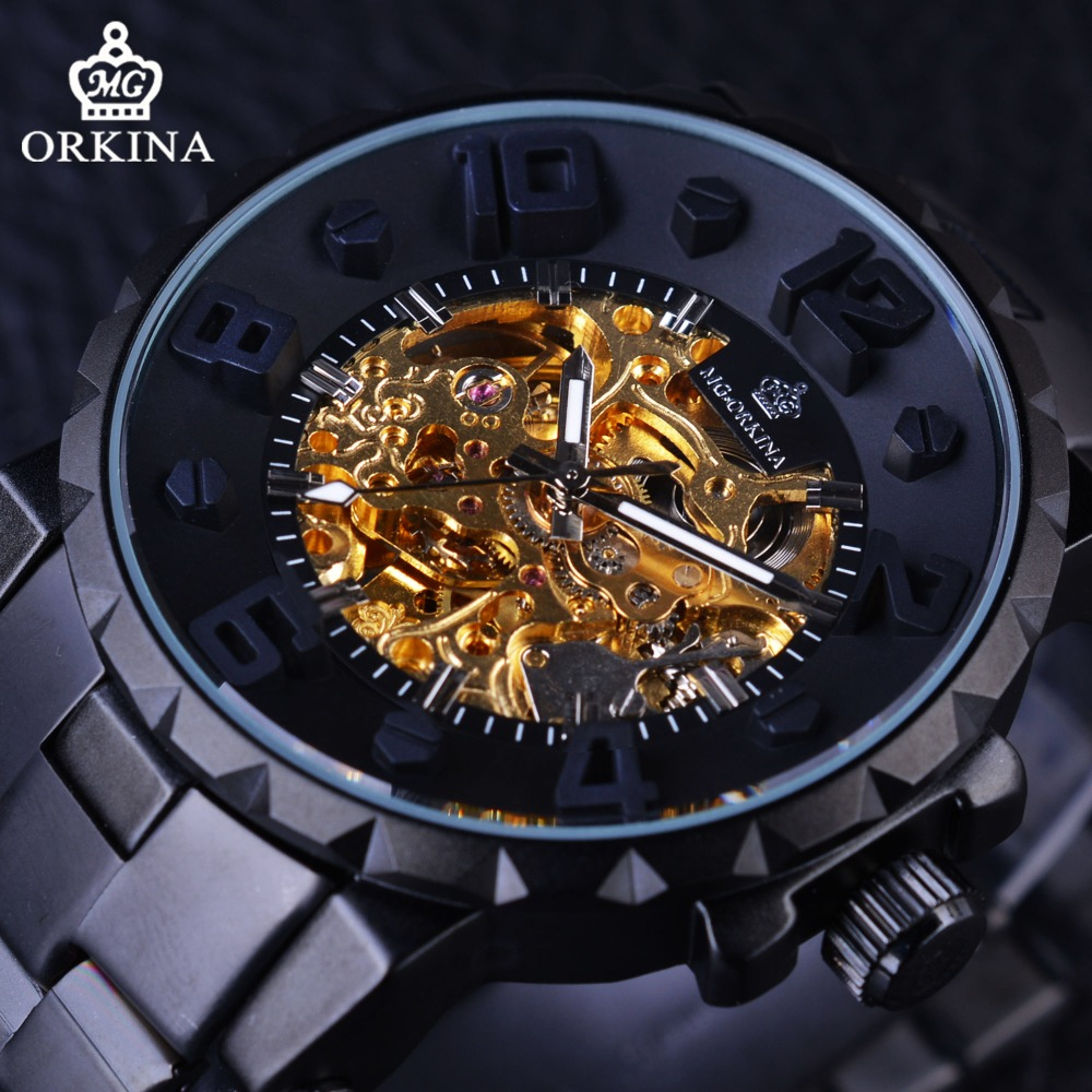 Orkina 2017 Steampunk Mechanical Series 3D Dimensional Dial Design Mens Watches Top Brand Luxury Automatic Skeleton Watch Clock<br>
