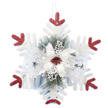White Christmas Home Door Window Ornaments Christmas Decoration Xmas Tree Hanging Decor, Snow