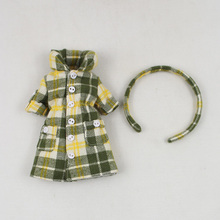 New Fashion Doll Clothing Accessories Plaid jacket +Headband Freeshipping
