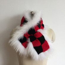 New Popular Plaid Women's Fur Scarves Raccoon dog Material Rabbit skin Scarf Fashion Brand Fur Scarves Collar Winter ER4021-13(China)