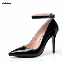 LLXF high quality Pantent Leather women's shoes Plus:35-43 44 12cm thin high heels shoes Model catwalk Ladies Party Wedding pums(China)
