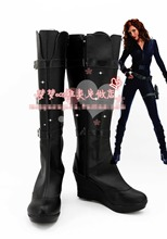 Free Shipping Iron Man 2 Black Widow Cosplay Shoes Halloween Black High Boots Custom-made