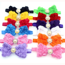 Hot !50pcs Pet Dog Bow Ties Chiffon Rose Diamond Ribbon Pet Bowties Pet Dog Neck Collar Accessories Pet Grooming Shop(China)