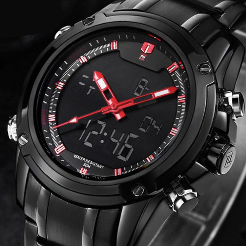 2017 Military Sports Mens Dual-display Multi-function Stainless Steel Mens Watches Relojes de Hombre Fe22<br><br>Aliexpress