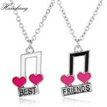 HANCHANG Fashion Jewelry Music Notes Best Friend For 2 BFF Heart Music Note Forever Friendship Pendant Necklace Women Party Gift