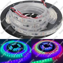 5M 12V 5050 SMD WS2811 IC 48LED/M Dream Color Digital LED Strip,10mm White PCB, IP67 Silicone Waterproof, 16pcs ws2811 ic/meter