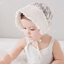 Nordic Vintage Style Baby Girl Lace Beanie Hat Infant Princess Hat Baby Summer Sun Bonnet Cap Dandelion Flower SW123(China)