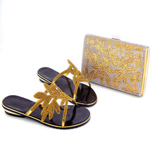 112-3 Comfortable Design Gold  African Shoes And Bag Set Hot Sale African Slipper Lady Shoes Matching Bag On Promotion