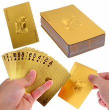Durable Waterproof Plastic Playing Cards Gold Foil Poker Golden Poker Cards 24K Gold-Foil Plated Playing Cards Poker Table Games(China)