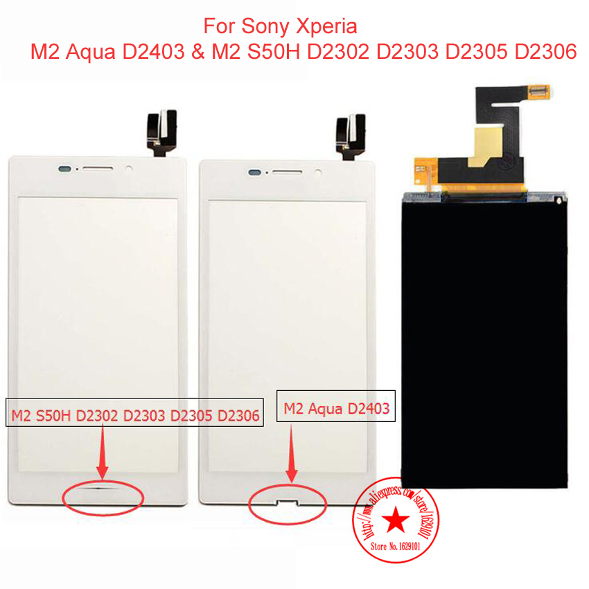 1pcs Touch Screen Digitizer Glass Panel For Sony Xperia M2 Aqua D2403 &amp; M2 S50H D2302 D2303 D2305 D2306 + LCD Display Screen<br><br>Aliexpress
