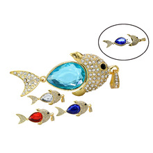 2016 Real Capacity Crystal Diamond Fish USB Flash Drive Pen Drive 16GB 32GB 64gb USB 2.0 necklace jewelry Memory Disk USB Stick