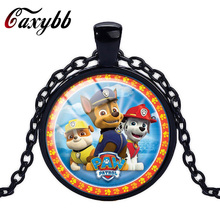 Caxybb brand Fashion Hot Dog Paw Patrol Kids Boys Gift Cartoon Birthday Pendant Jewelry SilverChain Crystal Pendant