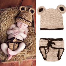 2pcs Newborn Photography Props Baby Infant Crochet Knitted Ear Hat Pants Baby Photo Props