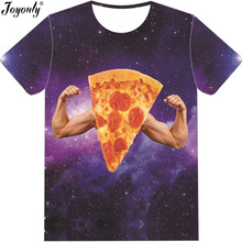 Joyonly 2018 Summer Men/Women 3D T-shirt Pizza Galaxy Show Strength Brand Design T Shirt Man Cool Funny Clothes Dropshipping(China)