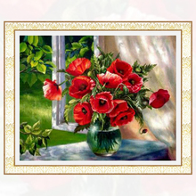 NEW 3D Diamond Painting Cross Stitch Red Floral Vase Crystal Needlework Diamond Embroidery Flower Full Diamond Decorative BJ509(China)