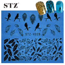 STZ 1Sheets High Quality NEW Fashion Nails Tips Black Sexy Feather Birds Decor of Nail Art Water Transfer Sticker Tools STZV028