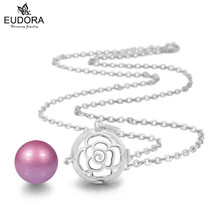 Mexican Bola Rose Flower Eudora Harmony Ball Pendant Baby Rattle Long Necklace Chain Musical Jewelry For Pregnancy Women