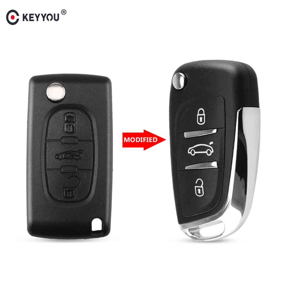 KEYYOU Modified Flip Key Shell Remote Key Case 3 Button for Peugeot 307 307S 306 407 408 607 Car Symbol CE0536(China)