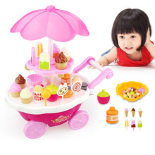 Pretend Play Toy Candy Ice Cream Cart Barbecue Snack Bus with Light Music Education Toys(China)