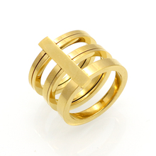 Fashion 3 Rows Layered Rings Midi Rings Punk Knuckle Ring 24k Gold Color Rings For Women Stainless Steel Ring Jewelry Wholesale