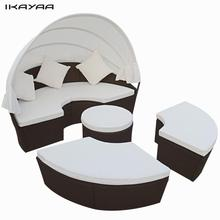 iKayaa 2-In-1 Set Brown Rattan Lounger Garden Set Furniture ES Stock