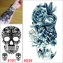 19x12cm Temporary Tattoo Flower Rose Tatto Clock Skull Tattoos Stickers For Arm Body Art Men Women Body Art