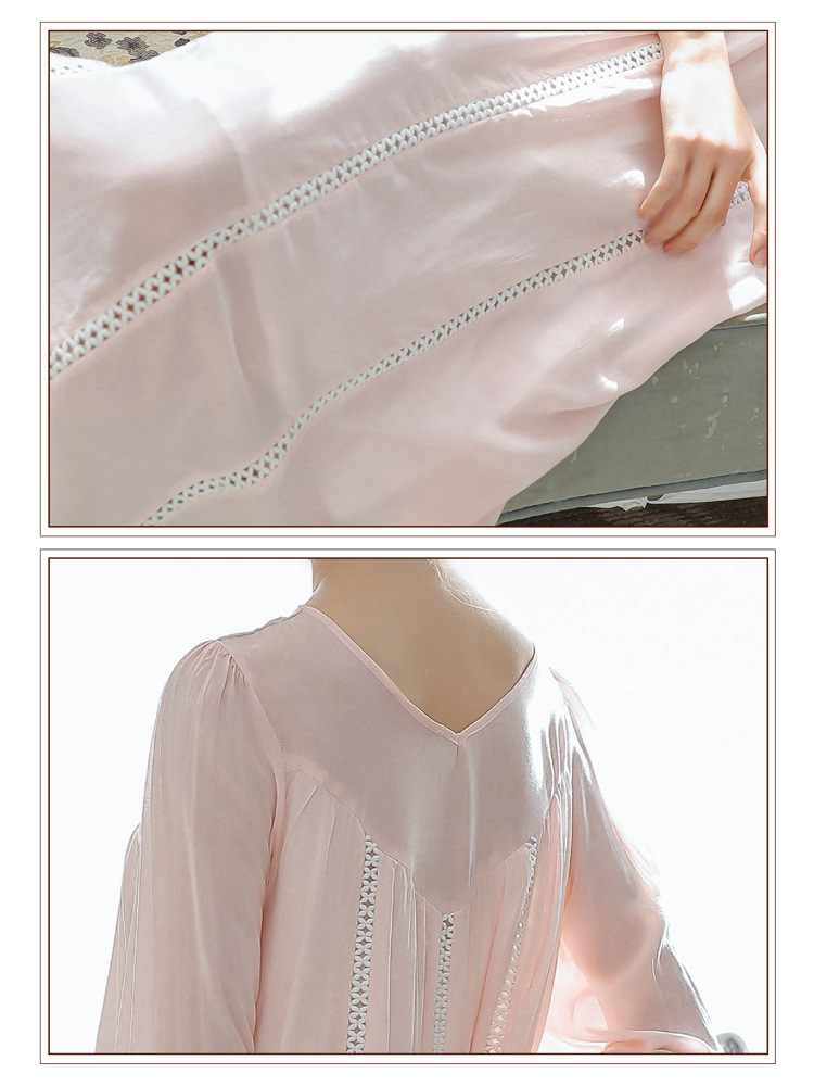 Women Vintage Style Women's Gown Flare Sleeve Pink Cotton Night Dress Long Nightdress Laced Nightshirt Victorian Nightgown 40