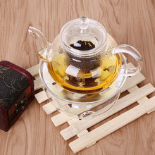 Glass Tea Pot Set w/ Infuser Teapot+Warmer+6 Double Wall Tea Cup 1000ML