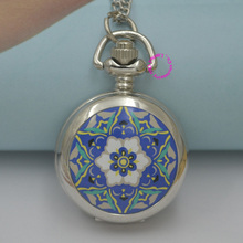 wholesale buyer price good quality silver mirror sketch drawing blue vintage star flower pocket watch necklace hour antibrittle(China)