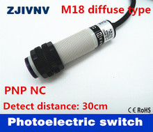 M18 diffuse type PNP NC DC 3 wires photoelectric sensor normally close switch distance 30cm adjustable reflectance laser switch