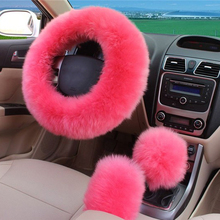 3pcs/set Pure Wool Car Steering Wheel Covers Set Cover On The Steering Wheel Long Wool Plush Woolen Winter Car Accessory-38CM