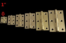 "100% Pure Brass Height 1 inch Mini Cabinet Drawer Jewlery box Butt Hinge 1"" brass small hinge 4 small holes DIY hardware T1.2MM"