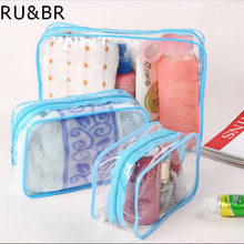 RU&BR 3PCS/Set Waterproof Transparent Cosmetic Bag Women Portable Toiletry Kits Cosmetic Travel Organizer For Make Up Bags