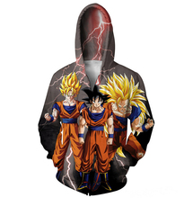 Goku Zip-Up Hoodie anime Dragon Ball Z Super Saiyan 3D print Sweatshirt Women Men fashion Jumper Hoodies Outfits Free shipping