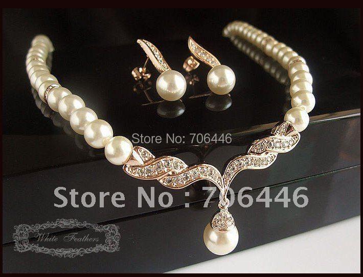 Rose Gold Cubic Zirconia Pearl Wedding Pendant Necklace Earrings Set Brides PE