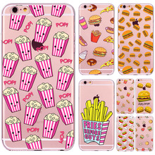 Newest Design Mix Patterns Hamburg French Fries Phone Case for iphone 6 6S Soft TPU SkinUltra Thin Shells