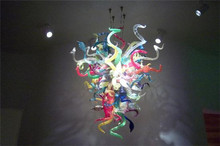 Modern Art Multi Colored Crystal Hand Blown Borosilicate Glass Chandelier for Hotel Decoration(China)