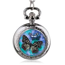 Pattern Pocket Watch Butterfly Flower Pattern Wholesale Good Quality Hot Necklace Chain Watch W/Battery Silver Tone 84.5cm(China)