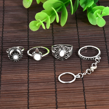 Bohemian Style 4pcs/Set Vintage Anti Silver Rings White stone Lucky Rings Set for Women Party Boho Free Shipping